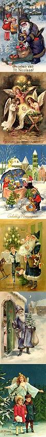 Weihnachtsgrusskarten: Weihnachtsmann, Weihnachtsengel, Weihnachtsmarkt