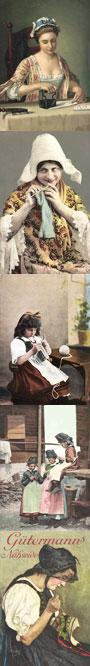 Handarbeit, Geduldswelt auf alten Postkarten
