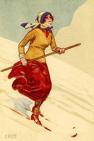 Skifahrerin aus dem Jahre 1925 auf Skilatten