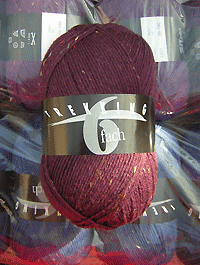 Trekking 6-fach Tweed - brombeere violett dunkel  - Farbe 1879