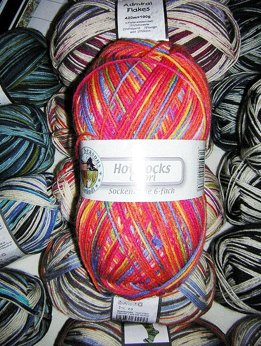 Hot Socks Colori 150 - rot blau gelb - Farbe 312