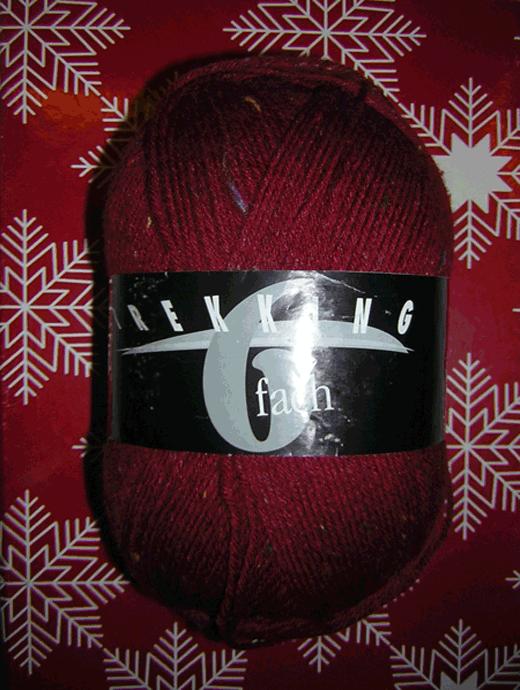 Trekking 6-fach Tweed - bordeaux  - Farbe 1857