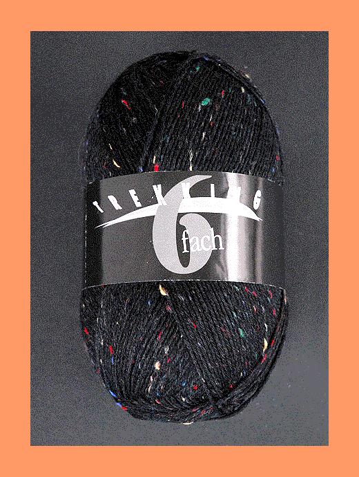 Trekking 6-fach Tweed - schwarz  - Farbe 1861