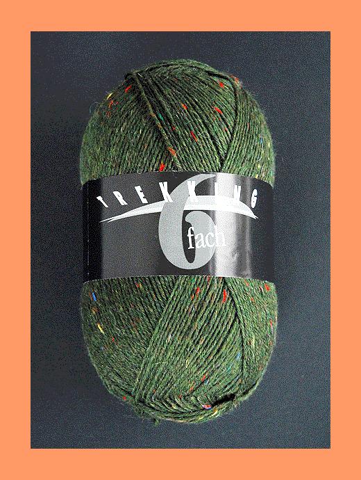 Trekking 6-fach Tweed - oliv - Farbe 1862
