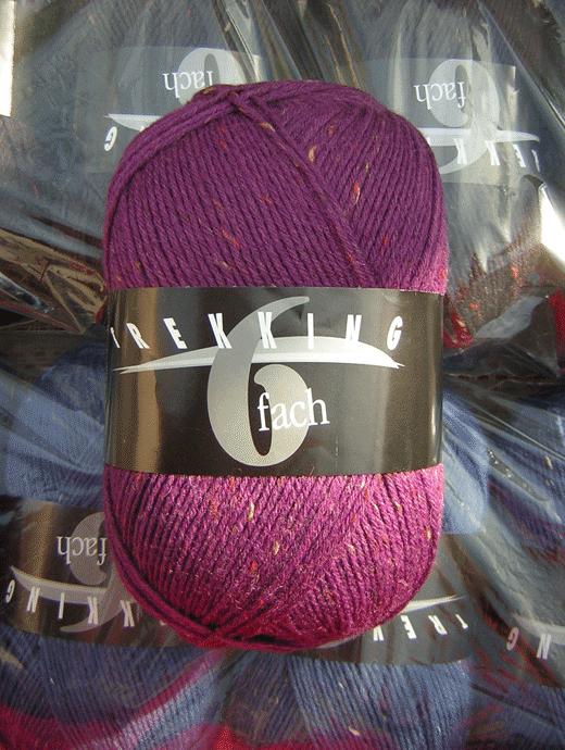 Trekking 6-fach Tweed - brombeere violett - Farbe 1881