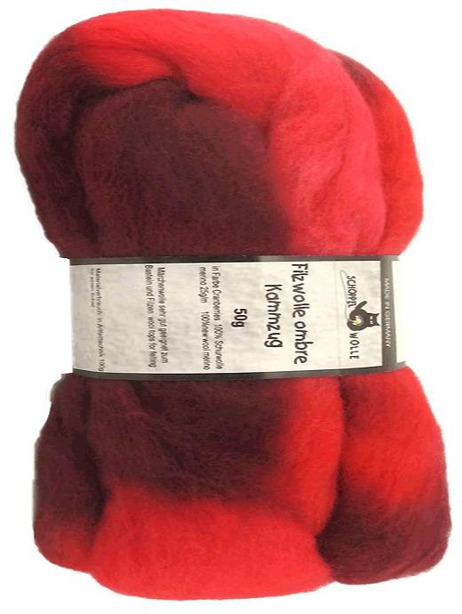 Filzwolle Ombre Kammzug - Cranberries - Farbe 1963ombre
