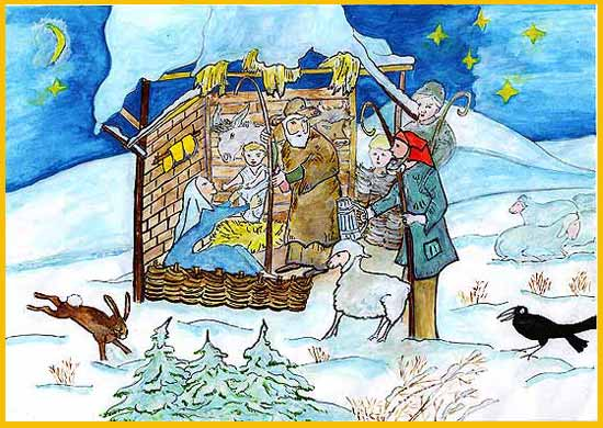 Der Krippenstall: Das Jesuskind, Mutter Maria und Vater Joseph, Ochse und Esel, die Hirten, Schafe und L�mmer