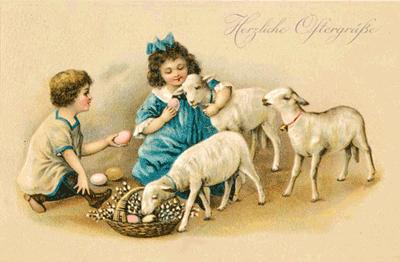 Drei Schafe, ein Mädchen und ein Junge versuchen das Osterfest zu präsentieren. Fünf Eier dienen als Dekoration.