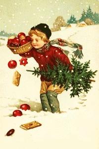 Kind mit Weihnachtsbaum und Früchtekorb