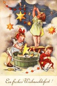 Engel reinigen die Sterne und h�ngen sie auf zum Trocknen
