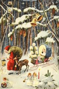 Der �ltere Weihnachtsmann, ein Reh stapft nebenher, zieht einen Schlitten hinter sich her. Der Mann ist schwer bepackt mit einem riesigen Wollesack. Das Christkind sitzt derweil listig auf dem Holzschlitten. Es betrachtet die schneebedeckten, die mit Glocken behangenen B�ume. Ausgeleuchtet wird das Panorama von einem strahlenden Christbaum. Drei mit sich selbst besch�ftigte Engelkinder stapfen, parallel zur geschilderten Szene, durch den allgegenw�rtigen Schnee.